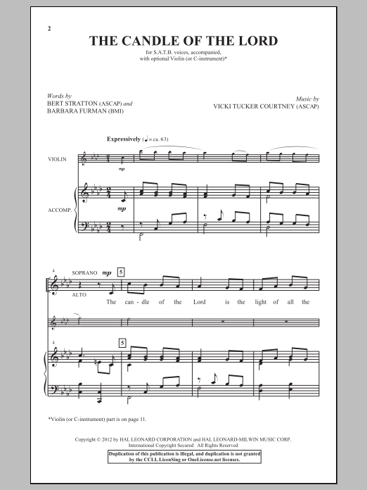 Vicki Tucker Courtney The Candle Of The Lord sheet music notes and chords. Download Printable PDF.
