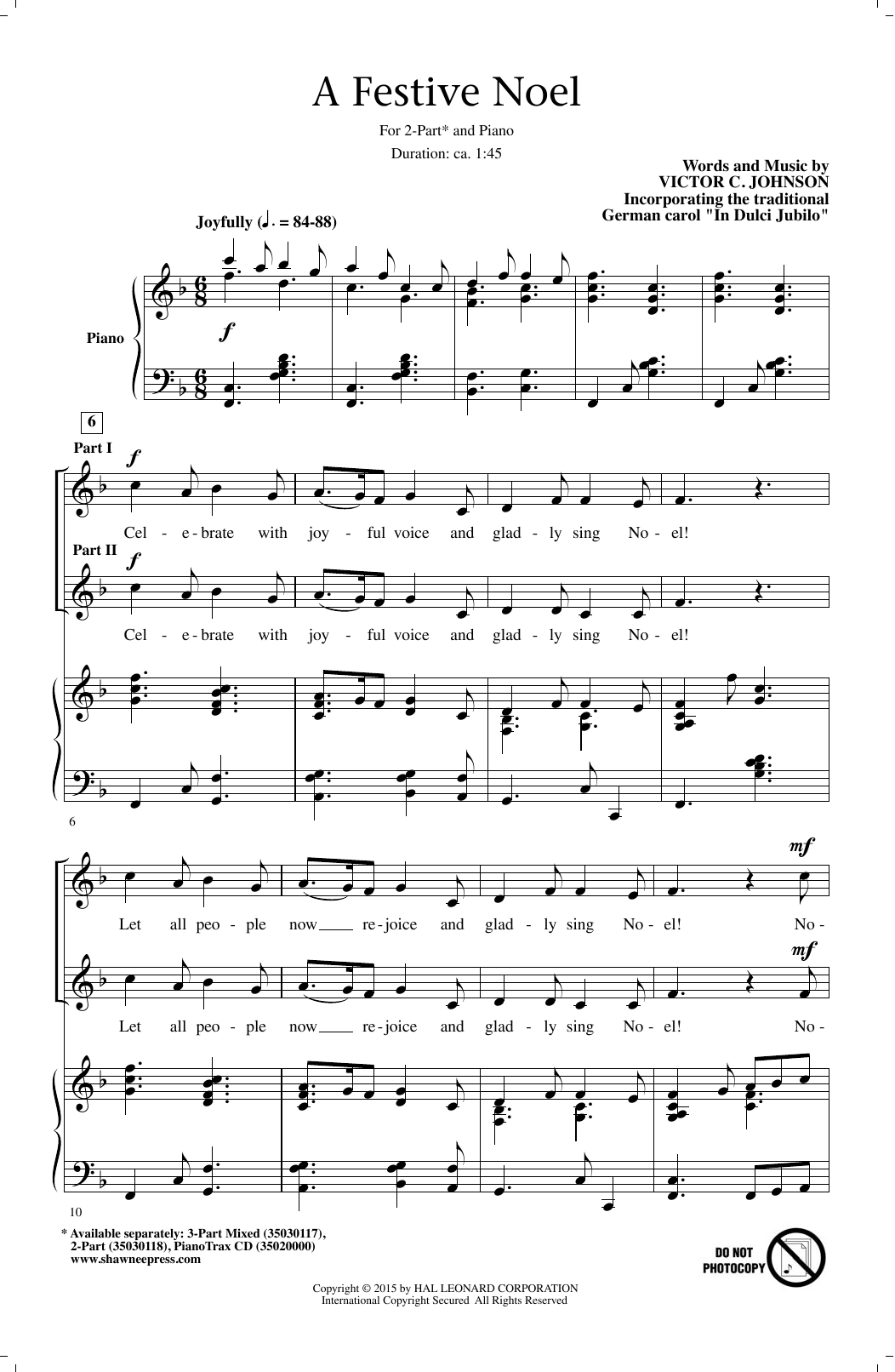 Victor C. Johnson A Festive Noel sheet music notes and chords. Download Printable PDF.