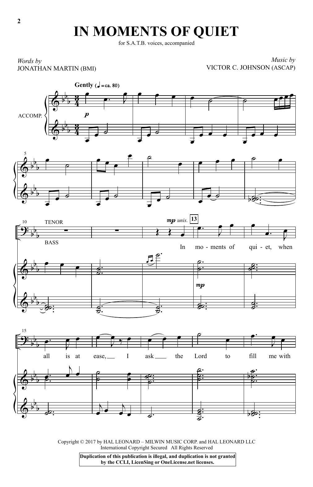 Victor C. Johnson In Moments Of Quiet sheet music notes and chords. Download Printable PDF.