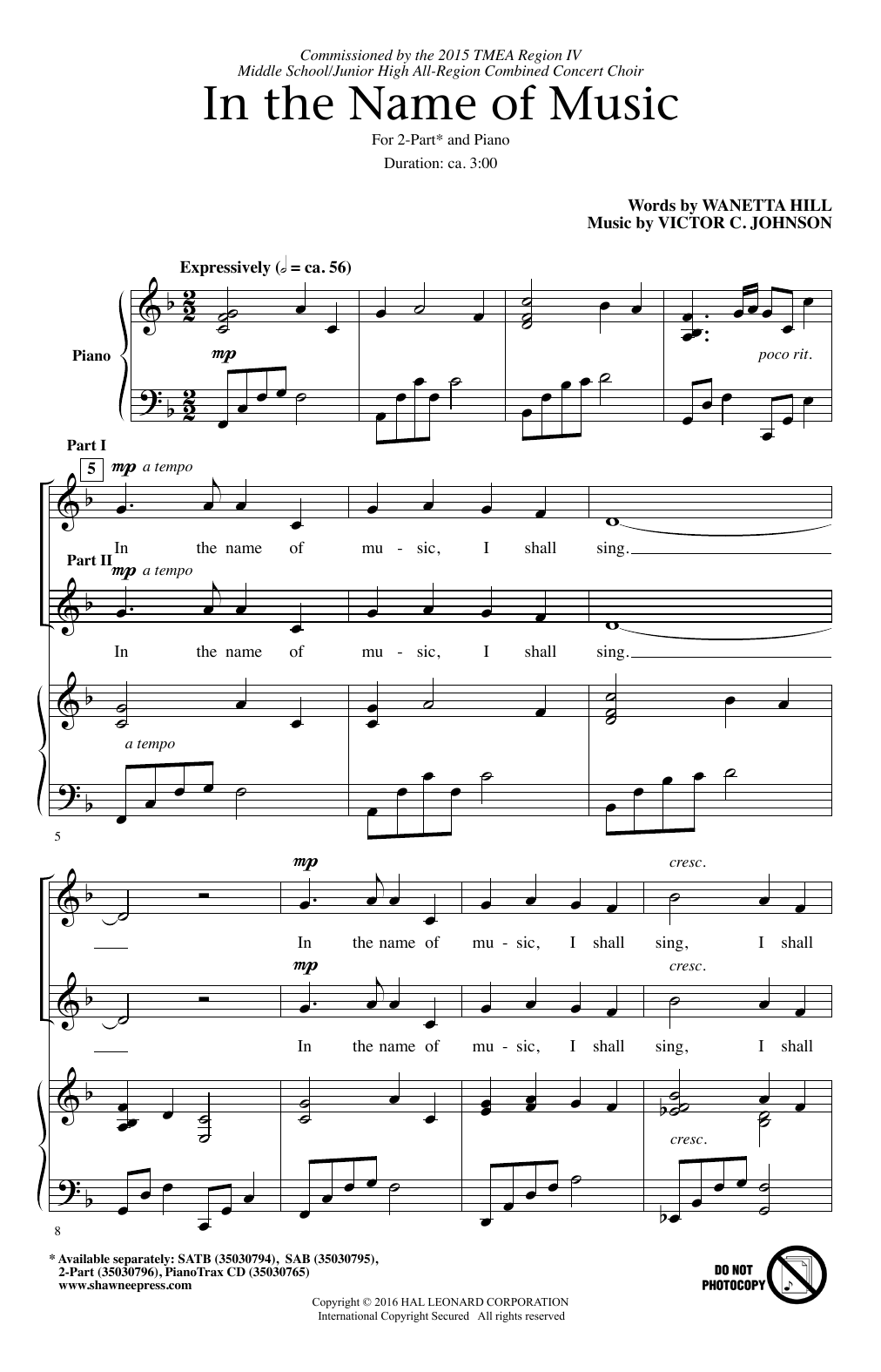 Victor C. Johnson In The Name Of Music sheet music notes and chords. Download Printable PDF.
