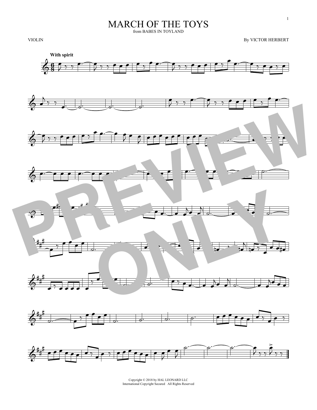 Victor Herbert March Of The Toys (from Babes In Toyland) sheet music notes and chords