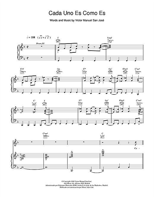 Victor Manuel San José Cada Uno Es Como Es sheet music notes and chords. Download Printable PDF.