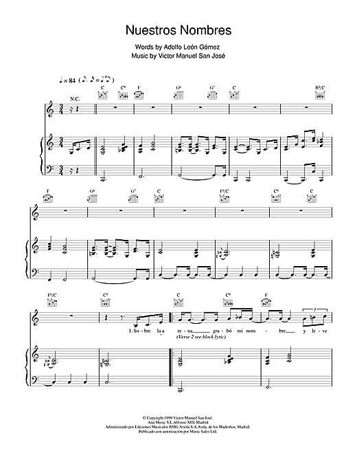 Victor Manuel San José Nuestros Nombres sheet music notes and chords