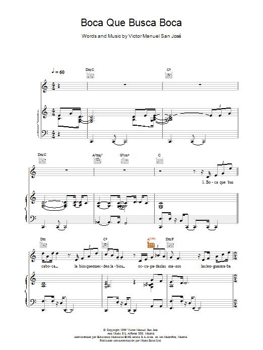 Victor Manuel San José Boca Que Busca Boca sheet music notes and chords. Download Printable PDF.