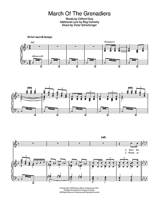 Victor Schertzinger March Of The Grenadiers sheet music notes and chords. Download Printable PDF.