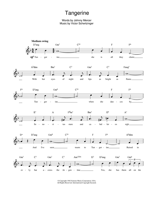 Victor Schertzinger Tangerine sheet music notes and chords