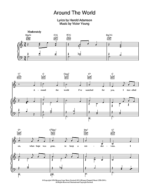 Victor Young Around The World sheet music notes and chords