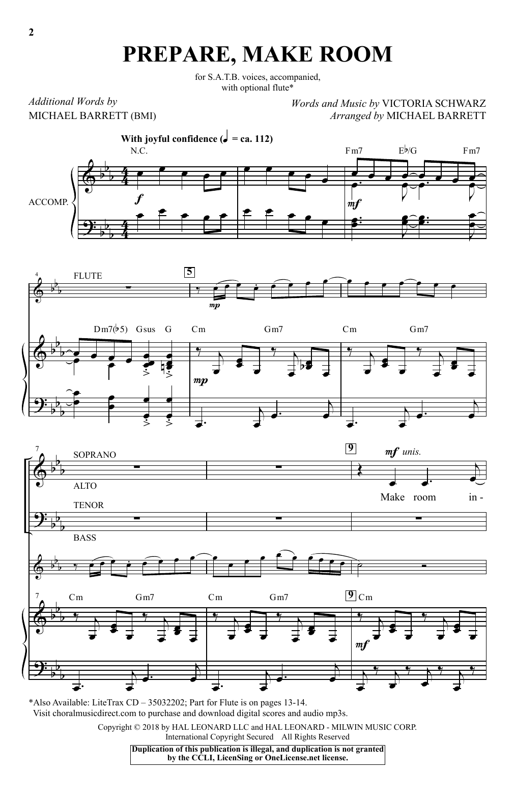 Victoria Schwarz Prepare, Make Room (arr. Michael Barrett) sheet music notes and chords