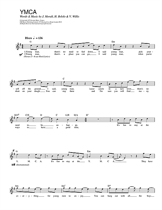 Village People Y.M.C.A. sheet music notes and chords. Download Printable PDF.