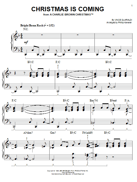 Vince Guaraldi Christmas Is Coming sheet music notes and chords. Download Printable PDF.