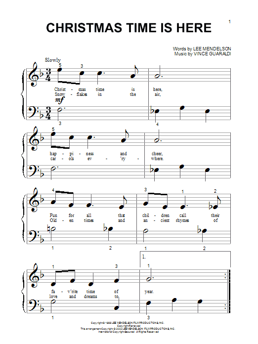 Christmas Time Is Here Chords.Vince Guaraldi Christmas Time Is Here From A Charlie Brown Christmas Sheet Music Notes Chords Download Printable Big Note Piano Sku 20965