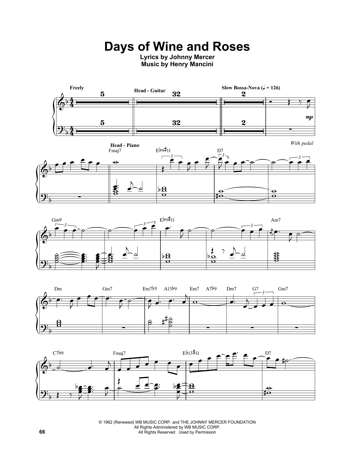 Vince Guaraldi Days Of Wine And Roses sheet music notes and chords