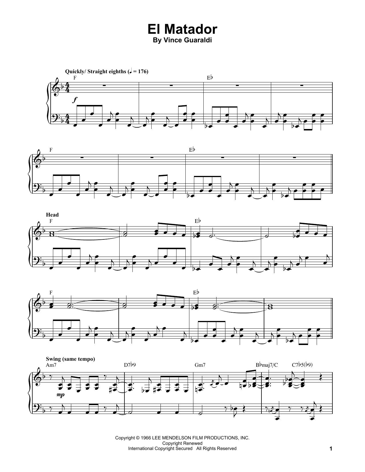 Vince Guaraldi El Matador sheet music notes and chords
