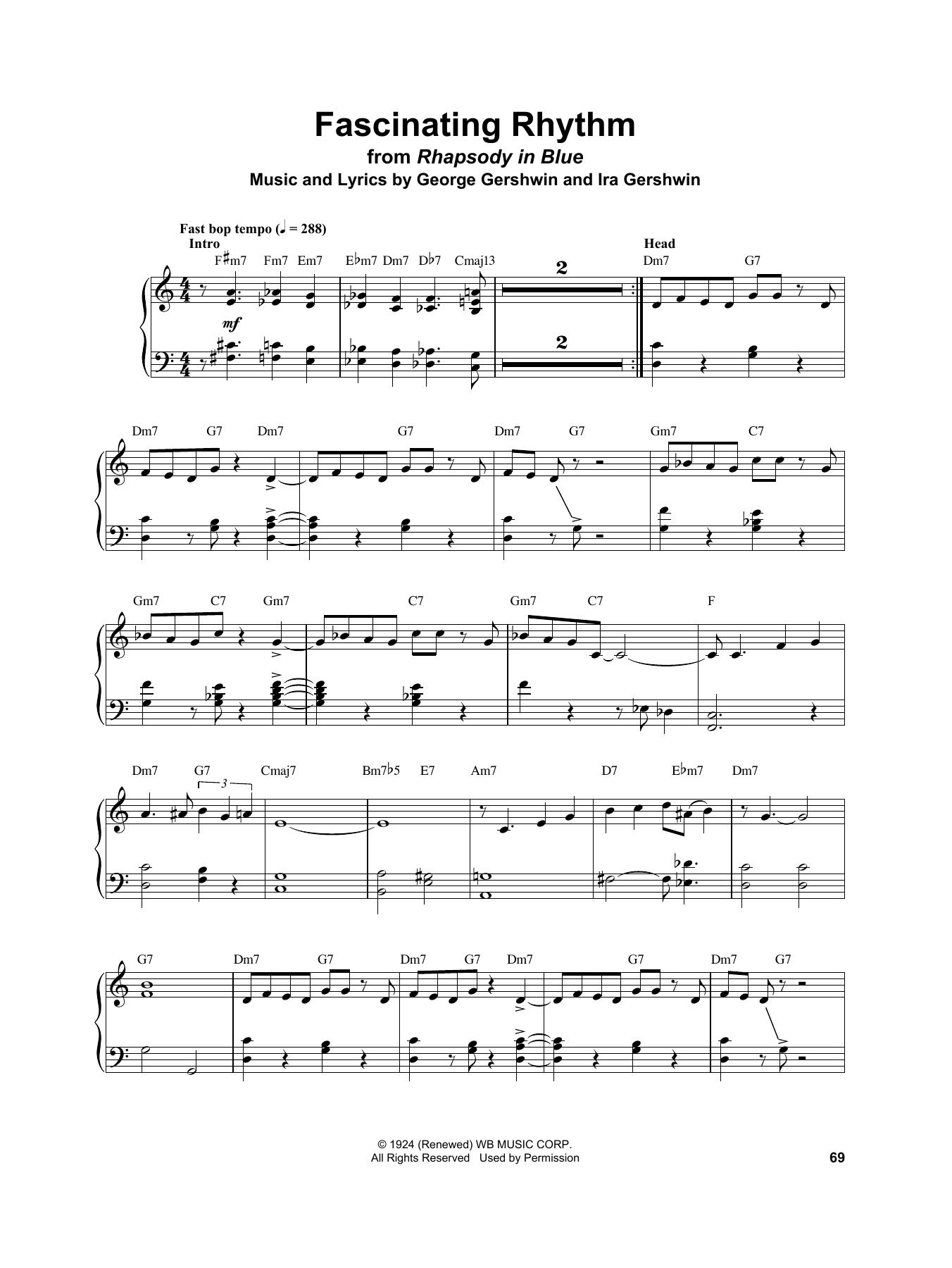 Vince Guaraldi Fascinating Rhythm sheet music notes and chords