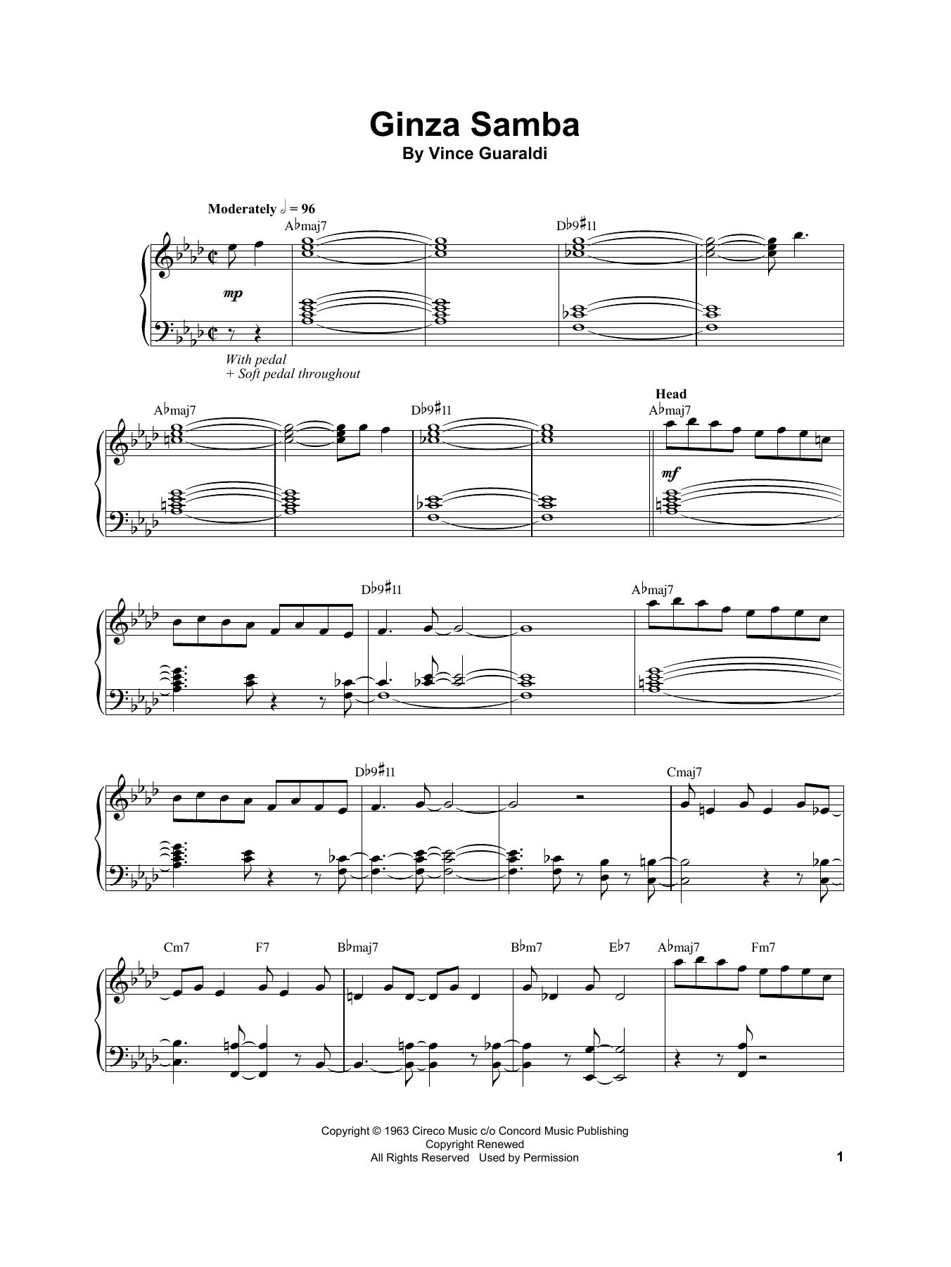 Vince Guaraldi Ginza Samba sheet music notes and chords. Download Printable PDF.