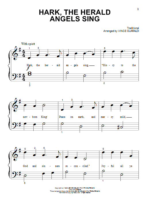 Vince Guaraldi Hark! The Herald Angels Sing sheet music notes and chords. Download Printable PDF.
