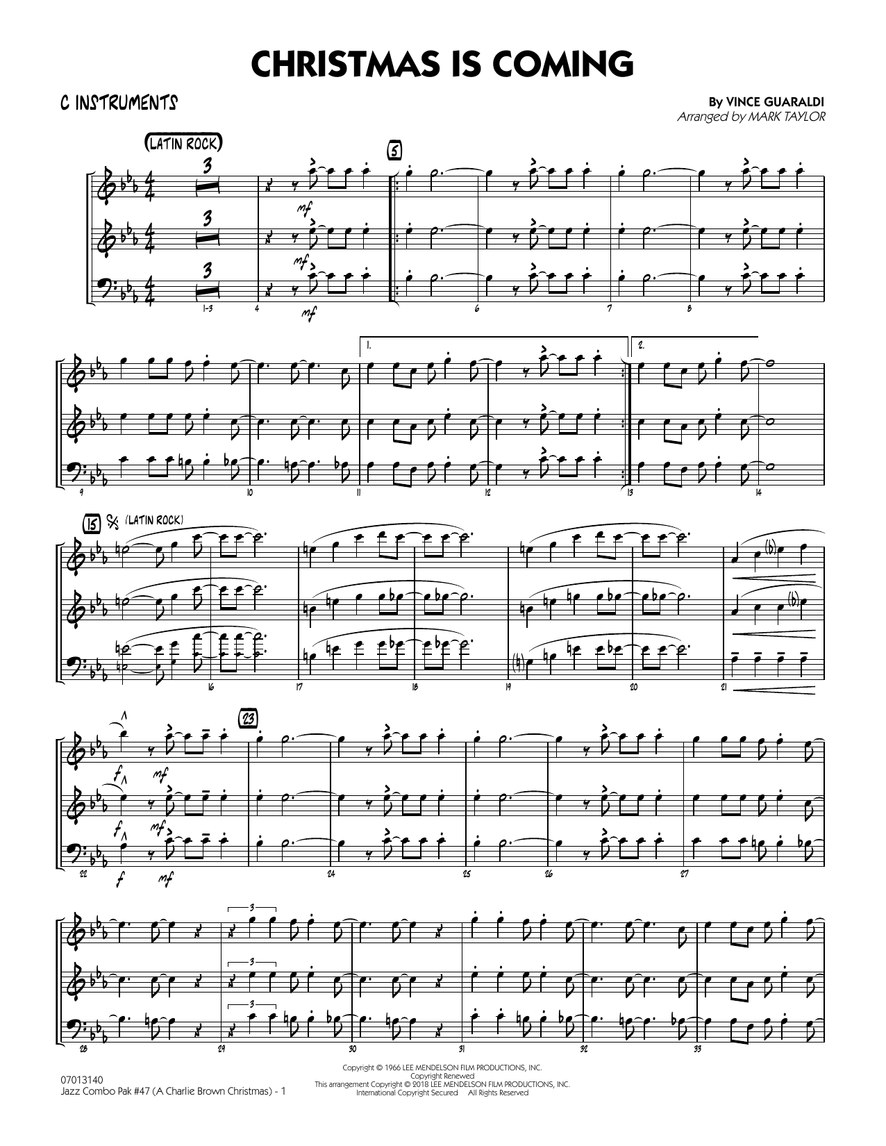 Vince Guaraldi Jazz Combo Pak #47 (Charlie Brown Christmas) (arr. Mark Taylor) - C Instruments sheet music notes and chords. Download Printable PDF.