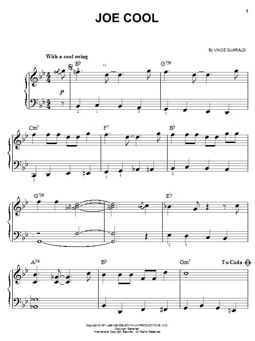 Vince Guaraldi Joe Cool sheet music notes and chords