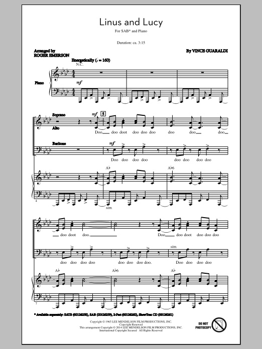 Vince Guaraldi Linus And Lucy (arr. Roger Emerson) sheet music notes and chords