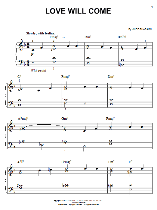 Vince Guaraldi Love Will Come sheet music notes and chords