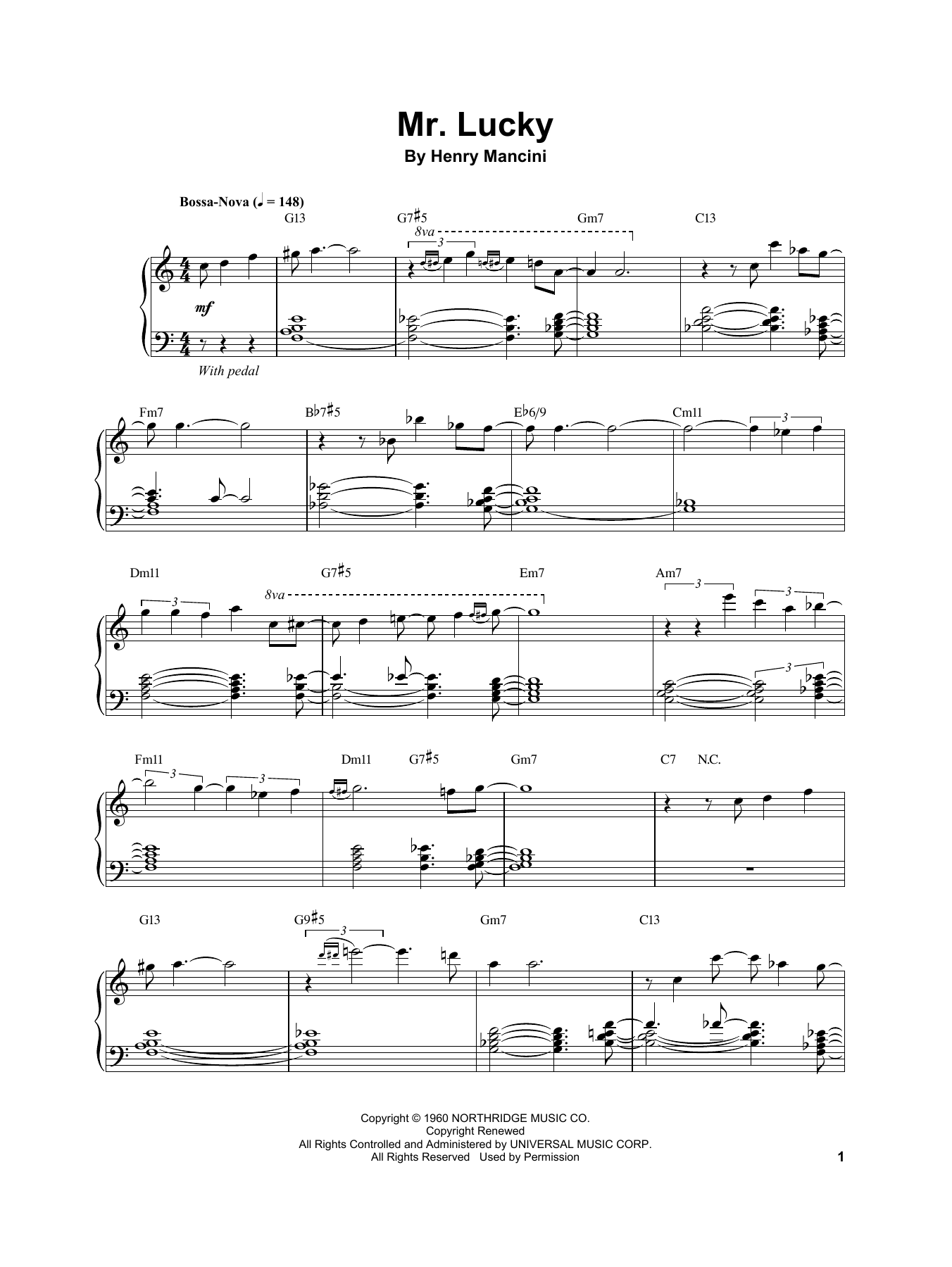 Vince Guaraldi Mr. Lucky sheet music notes and chords. Download Printable PDF.