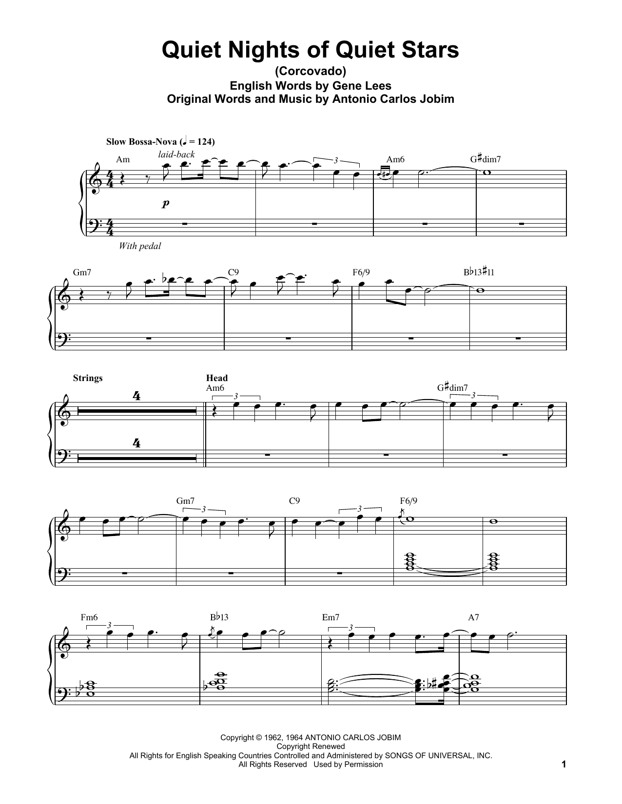 Vince Guaraldi Quiet Nights Of Quiet Stars (Corcovado) sheet music notes and chords. Download Printable PDF.