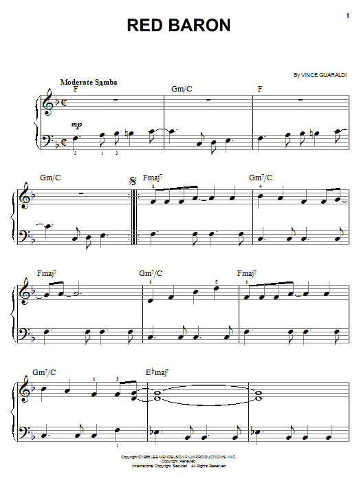 Vince Guaraldi Red Baron sheet music notes and chords