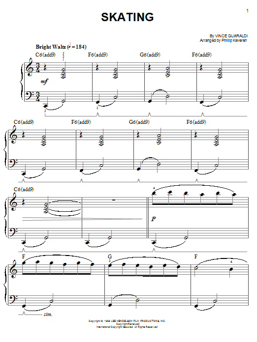 Vince Guaraldi Skating (from A Charlie Brown Christmas) sheet music notes and chords