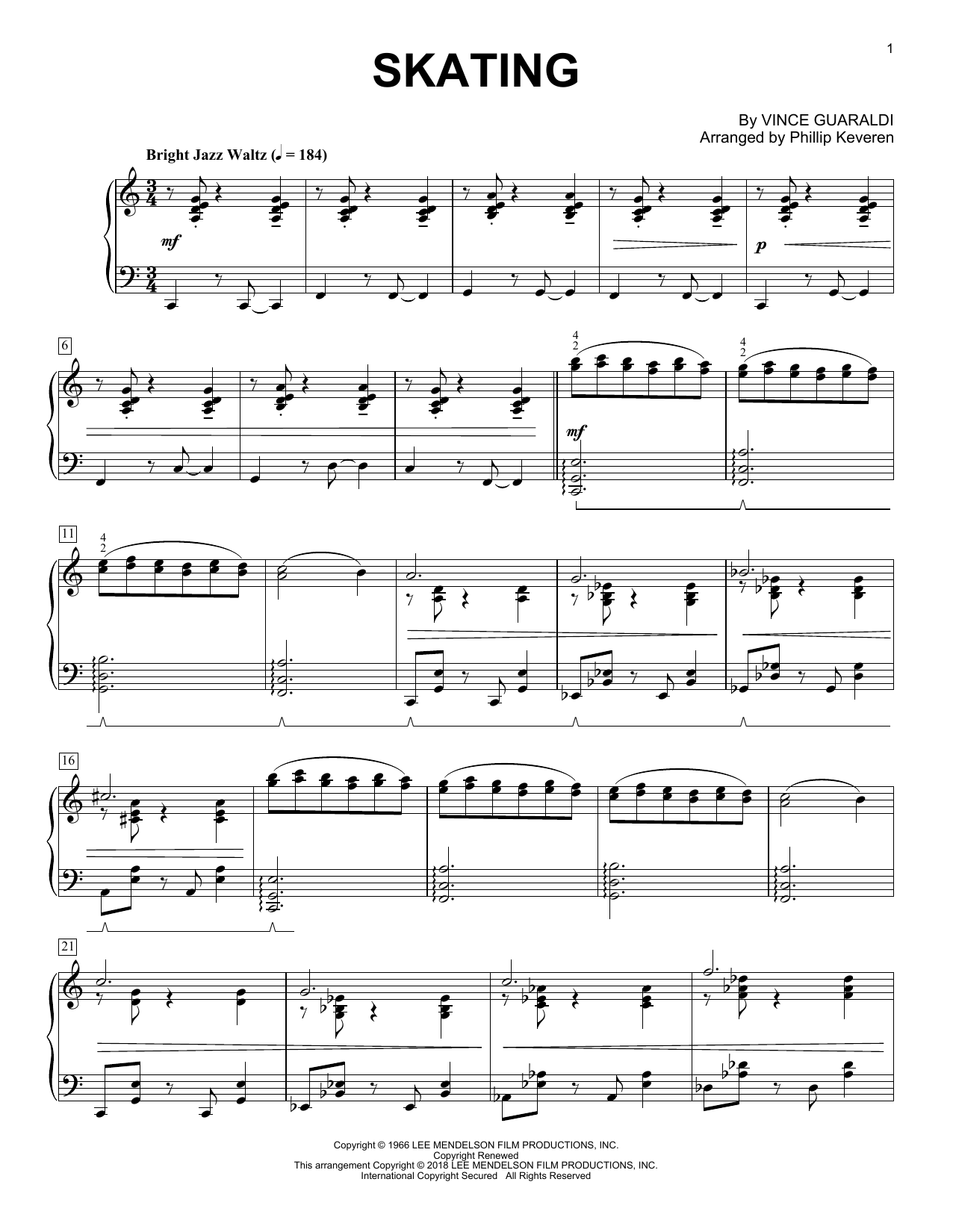Vince Guaraldi Skating (from A Charlie Brown Christmas) (arr. Phillip Keveren) sheet music notes and chords. Download Printable PDF.