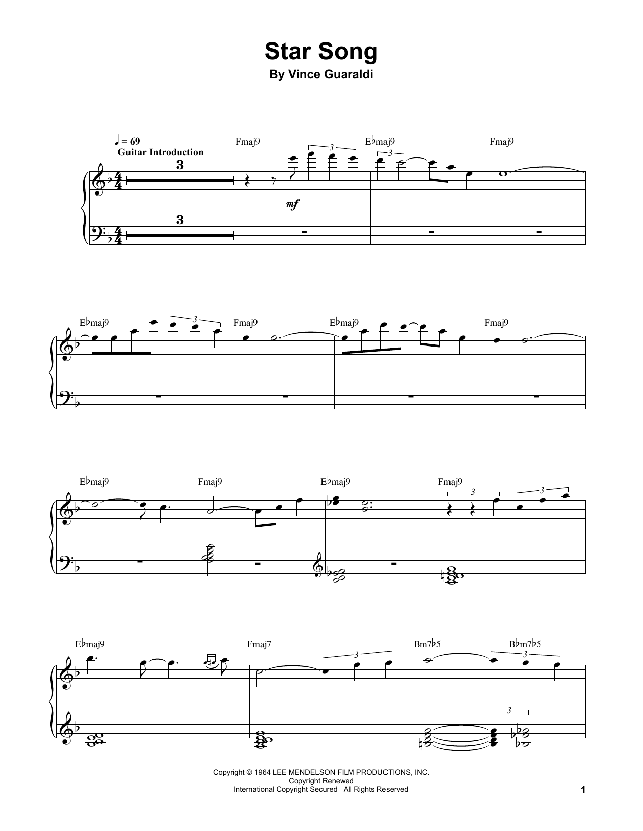 Vince Guaraldi Star Song sheet music notes and chords