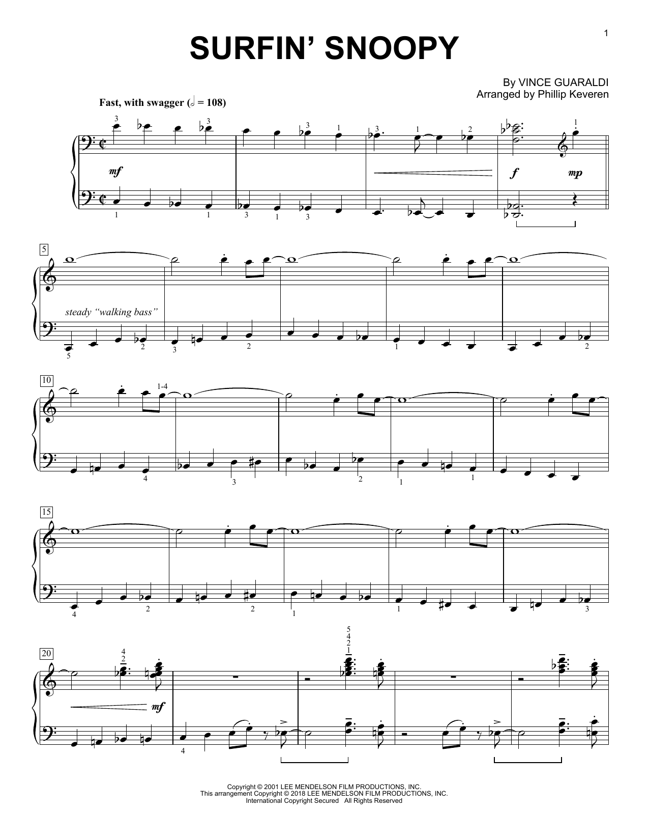 Vince Guaraldi Surfin' Snoopy (arr. Phillip Keveren) sheet music notes and chords. Download Printable PDF.