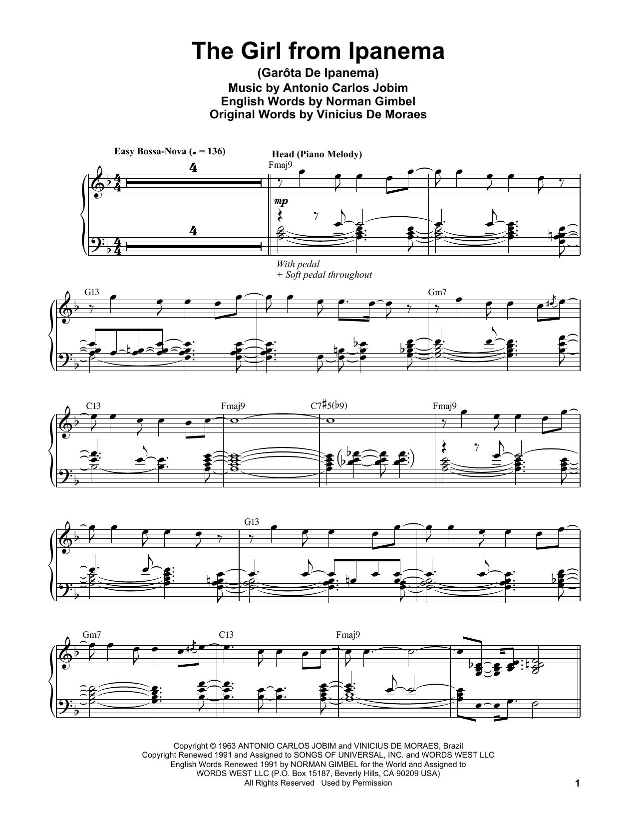 Vince Guaraldi The Girl From Ipanema (Garota De Ipanema) sheet music notes and chords. Download Printable PDF.