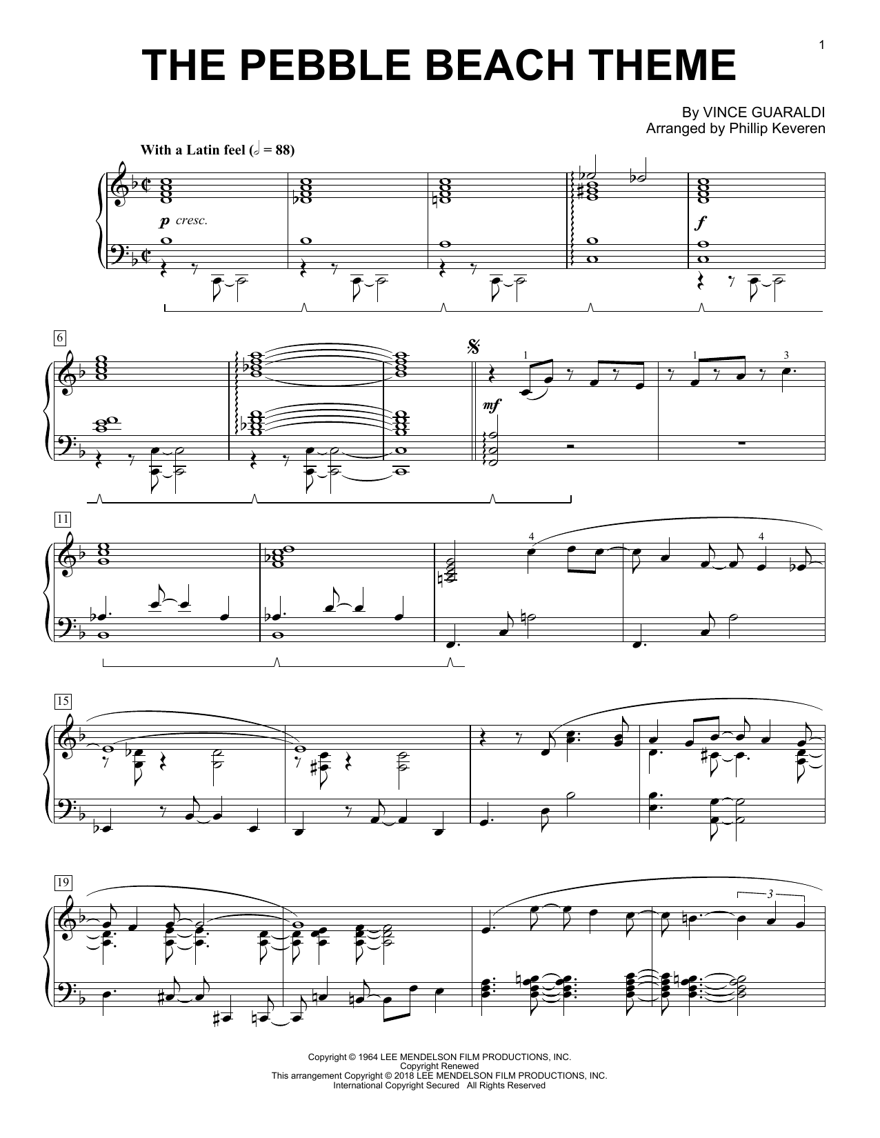 Vince Guaraldi The Pebble Beach Theme (arr. Phillip Keveren) sheet music notes and chords