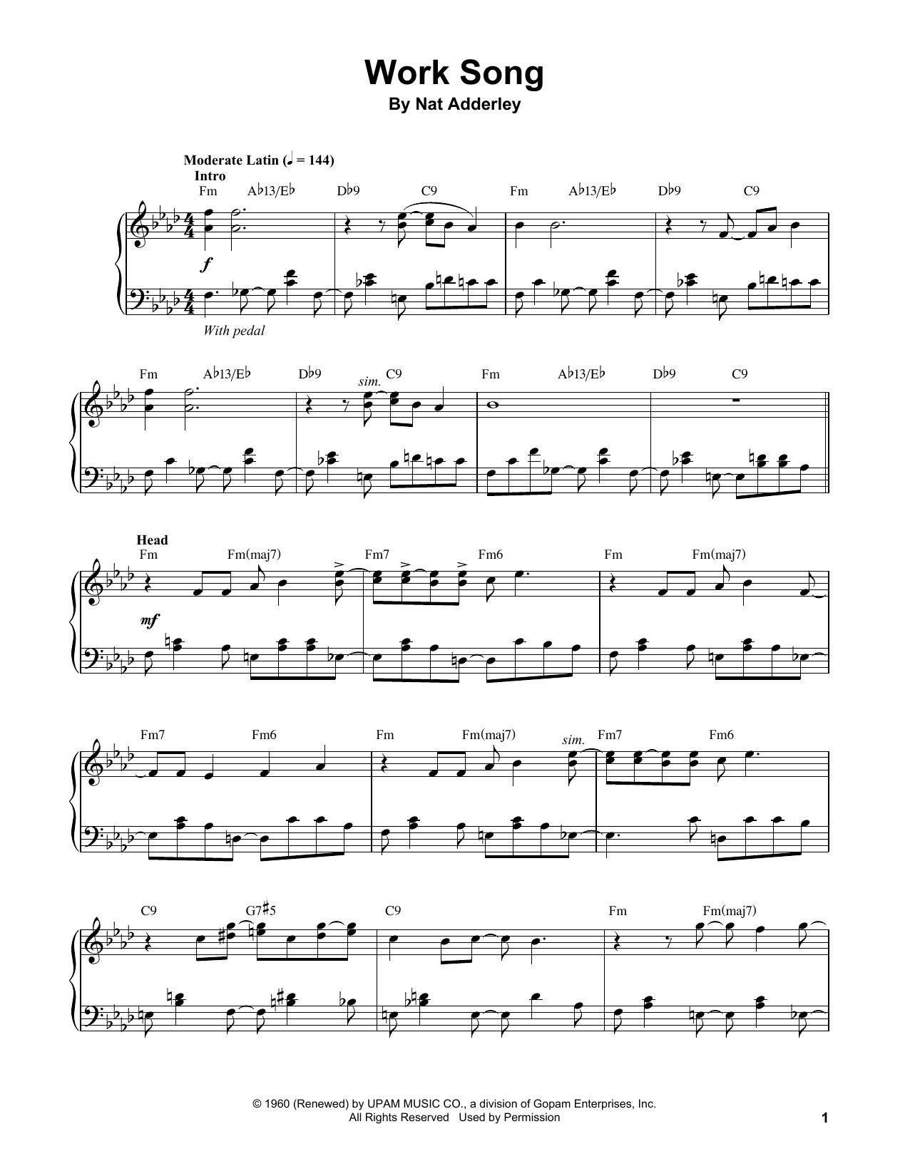 Vince Guaraldi Work Song sheet music notes and chords