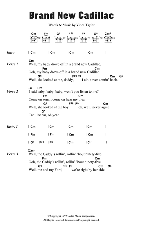 Vince Taylor & His Playboys Brand New Cadillac sheet music notes and chords. Download Printable PDF.