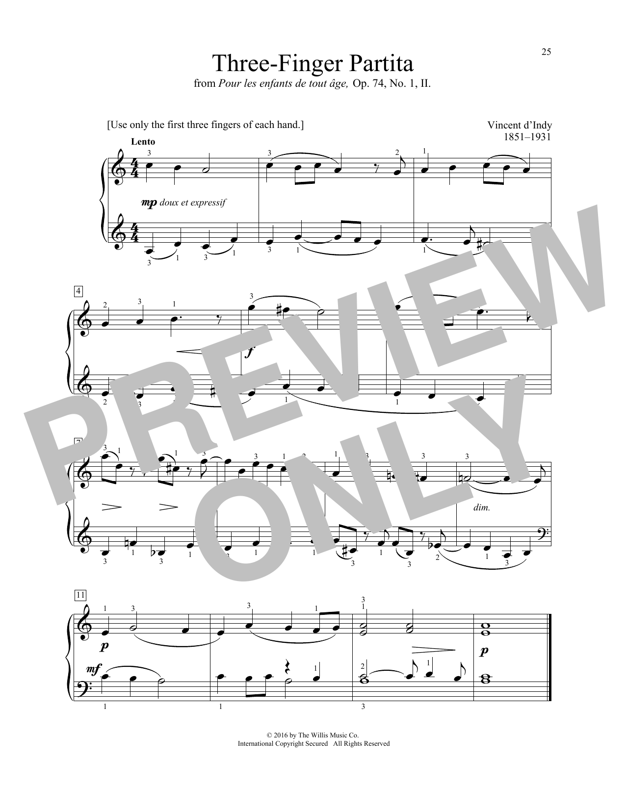 Vincent d'Indy Three-Finger Partita sheet music notes and chords. Download Printable PDF.