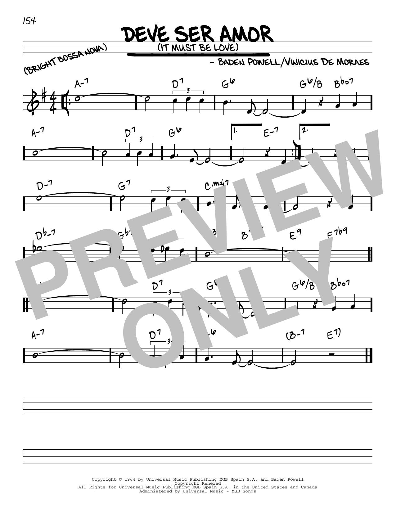 Vinicius de Moraes Deve Ser Amor sheet music notes and chords. Download Printable PDF.