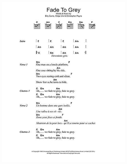 Visage Fade To Grey sheet music notes and chords. Download Printable PDF.