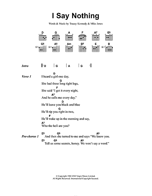 Voice Of The Beehive I Say Nothing sheet music notes and chords. Download Printable PDF.