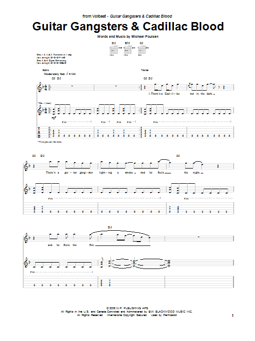 Volbeat Guitar Gangsters & Cadillac Blood sheet music notes and chords. Download Printable PDF.