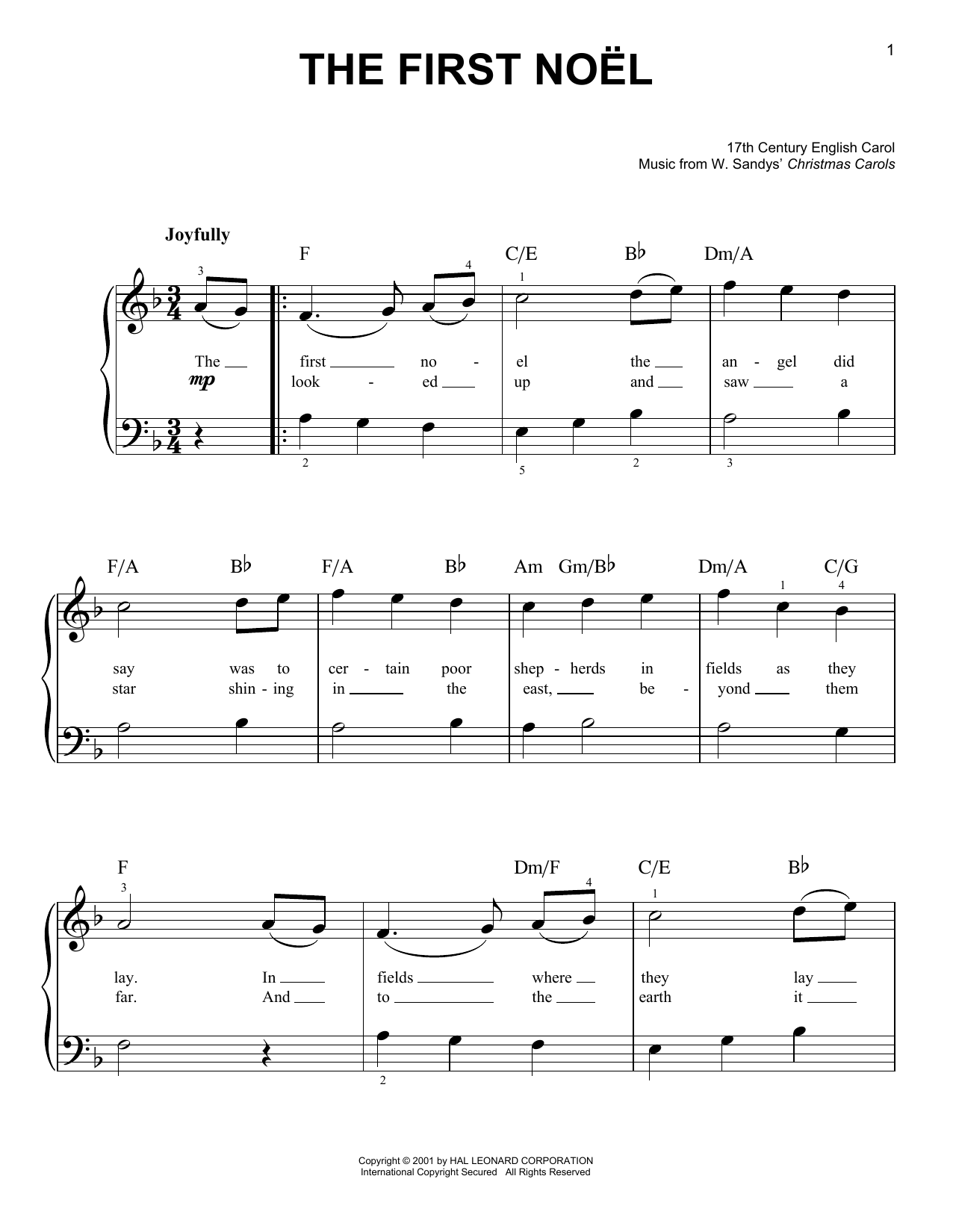 W. Sandys' Christmas Carols The First Noel sheet music notes and chords