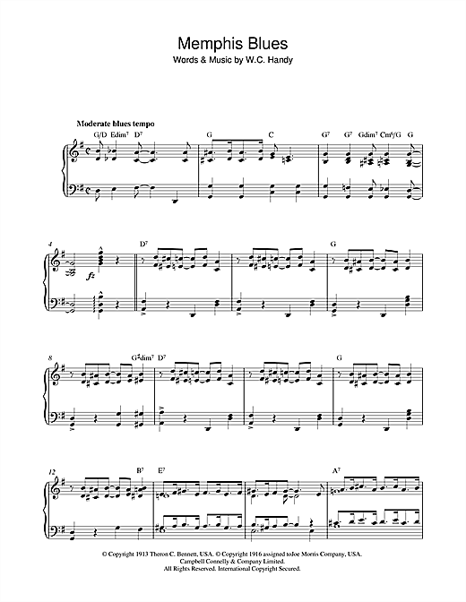 W.C. Handy Memphis Blues sheet music notes and chords. Download Printable PDF.
