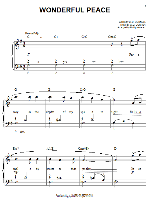 W.D. Cornell Wonderful Peace sheet music notes and chords. Download Printable PDF.