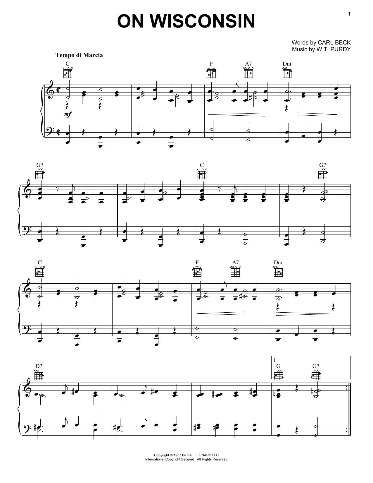 W.T. Purdy On Wisconsin! sheet music notes and chords