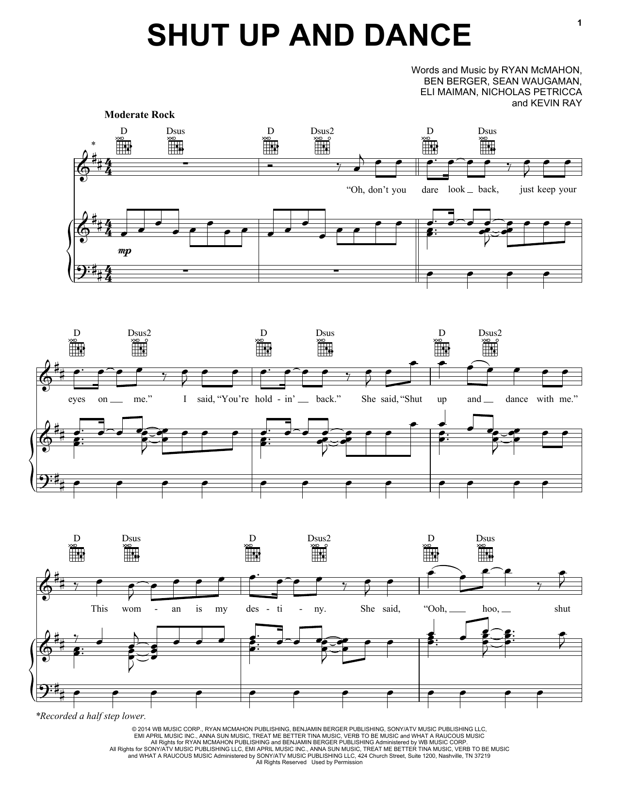 Walk The Moon Shut Up And Dance sheet music notes and chords. Download Printable PDF.