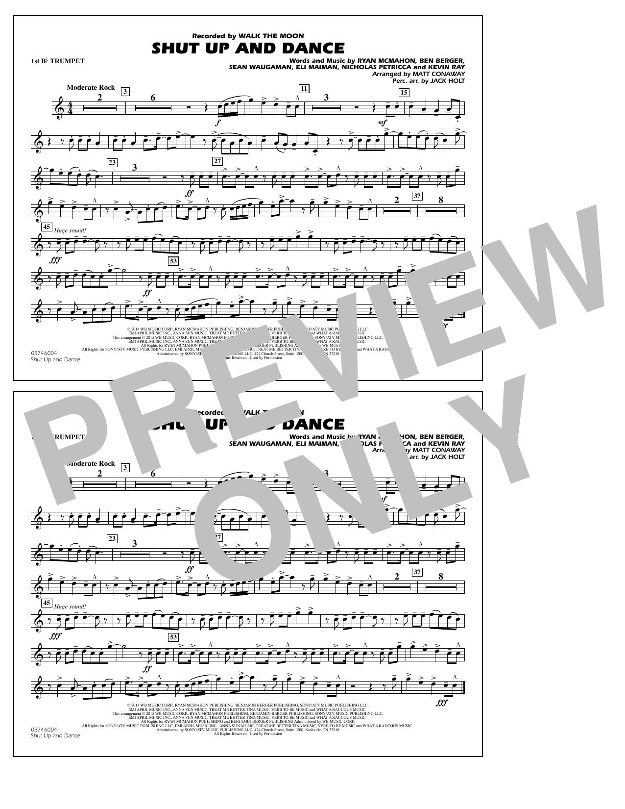 Walk The Moon Shut Up and Dance (Arr. Matt Conaway) - 1st Bb Trumpet sheet music notes and chords
