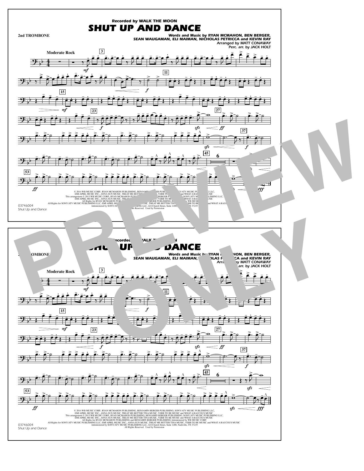 Walk The Moon Shut Up and Dance (Arr. Matt Conaway) - 2nd Trombone sheet music notes and chords