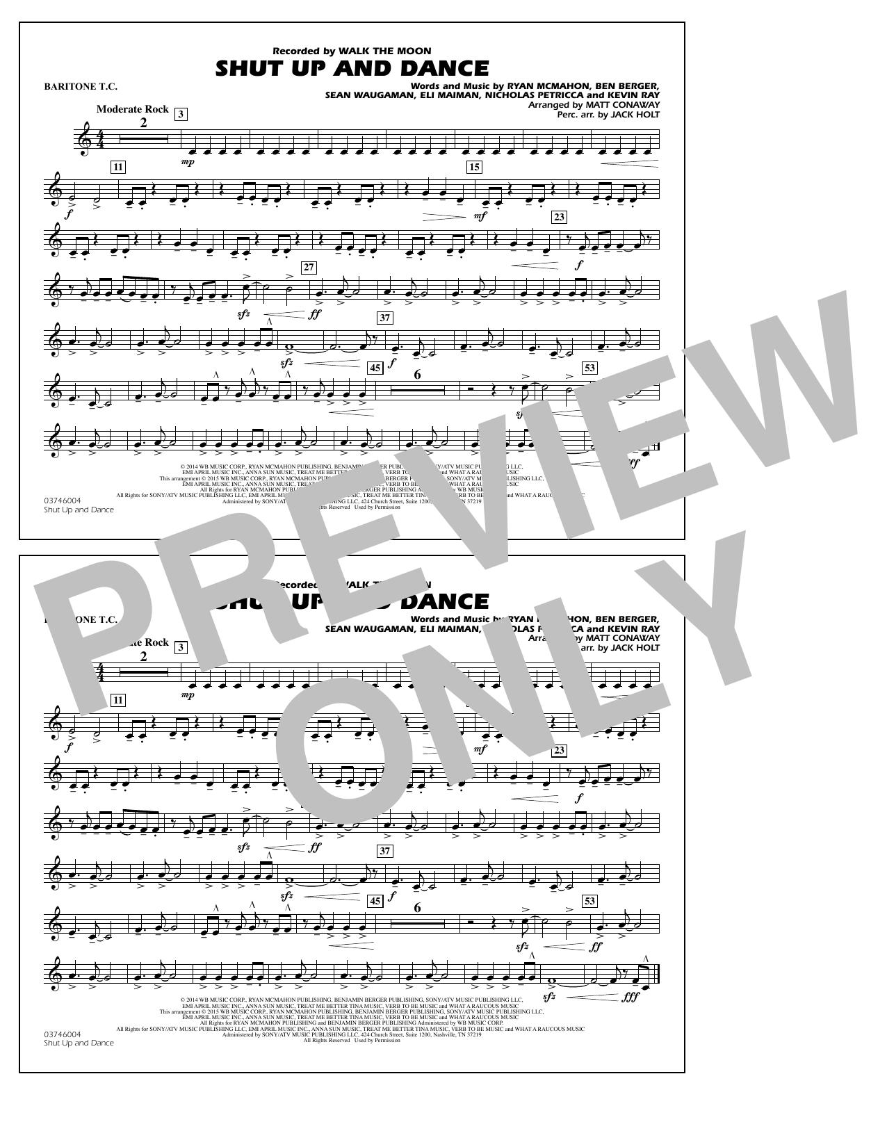Walk The Moon Shut Up and Dance (Arr. Matt Conaway) - Baritone T.C. sheet music notes and chords