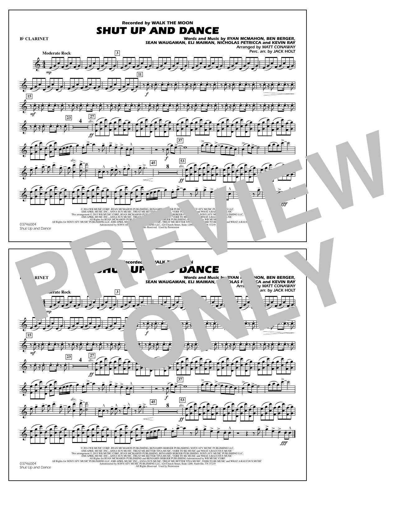 Walk The Moon Shut Up and Dance (Arr. Matt Conaway) - Bb Clarinet sheet music notes and chords