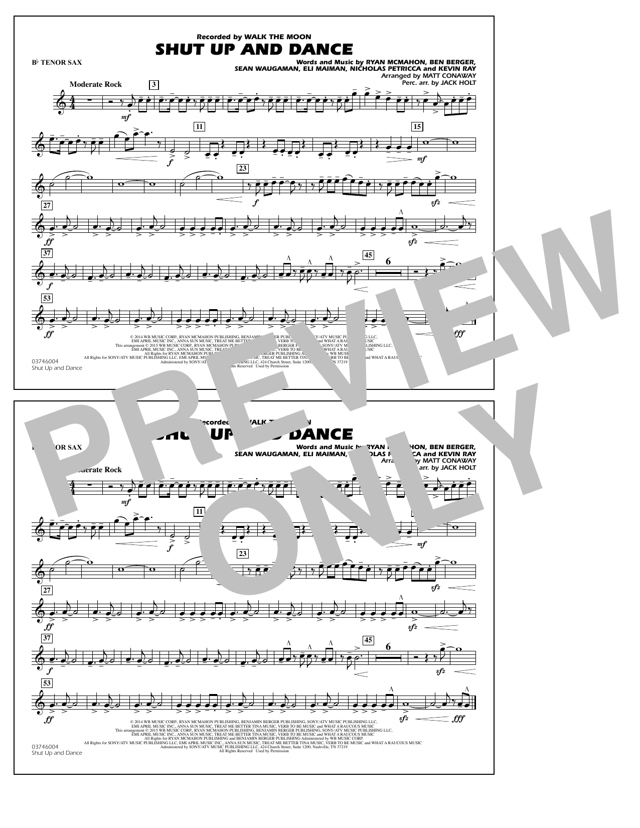 Walk The Moon Shut Up and Dance (Arr. Matt Conaway) - Bb Tenor Sax sheet music notes and chords. Download Printable PDF.